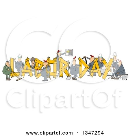 Cartoon Chubby White Male and Female Workers Building LABOR DAY Text Posters, Art Prints