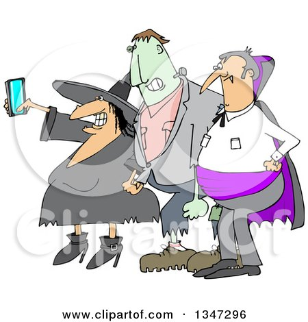 Clipart of a Cartoon Chubby Witch Taking a Selfie on a Cell Phone, with Frankenstine and a Dracula Vampire - Royalty Free Vector Illustration by djart