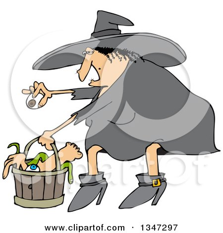 Clipart of a Cartoon Chubby Warty Halloween Witch Puting an Eyeball in a Basket of Body Parts and Snakes - Royalty Free Vector Illustration by djart