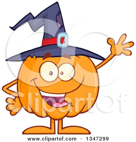 Clipart of a Cartoon Halloween Pumpkin Character Wearing a Witch Hat and Waving - Royalty Free Vector Illustration by Hit Toon
