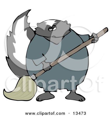 Working Skunk in Coveralls, Mopping up a Mess on a Floor Clipart Illustration by djart