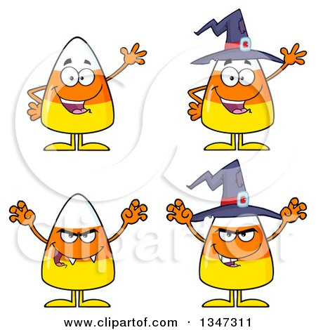 Clipart of Cartoon Halloween Candy Corn Characters - Royalty Free Vector Illustration by Hit Toon