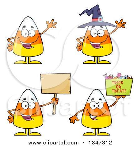 Clipart of Cartoon Halloween Candy Corn Characters 2 - Royalty Free Vector Illustration by Hit Toon