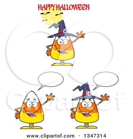 Clipart of Cartoon Halloween Candy Corn Characters 4 - Royalty Free Vector Illustration by Hit Toon