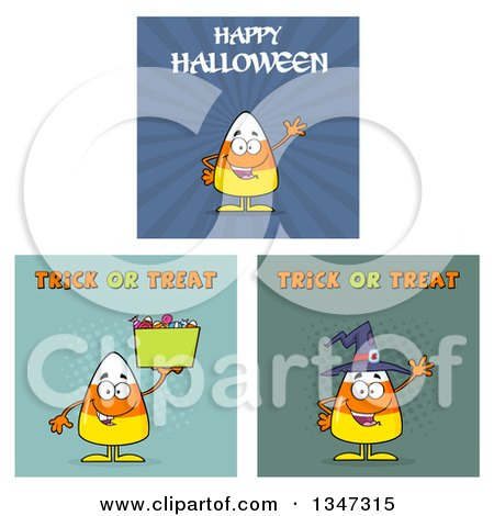 Clipart of Cartoon Halloween Candy Corn Characters 5 - Royalty Free Vector Illustration by Hit Toon