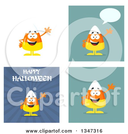 Clipart of Cartoon Halloween Candy Corn Characters 6 - Royalty Free Vector Illustration by Hit Toon