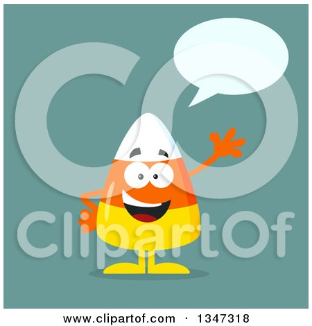 Clipart of a Cartoon Halloween Candy Corn Character Talking and Waving over Blue - Royalty Free Vector Illustration by Hit Toon