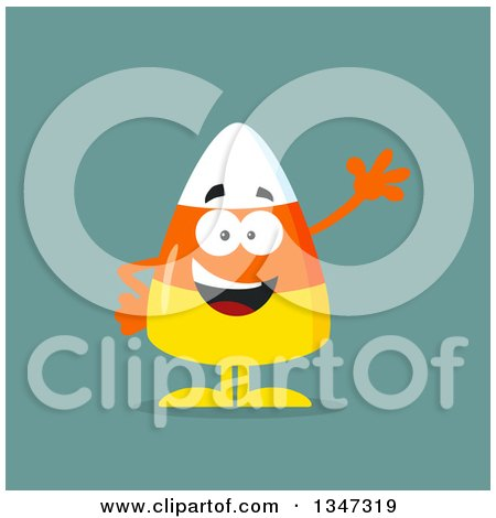 Clipart of a Cartoon Halloween Candy Corn Character Waving over Blue - Royalty Free Vector Illustration by Hit Toon