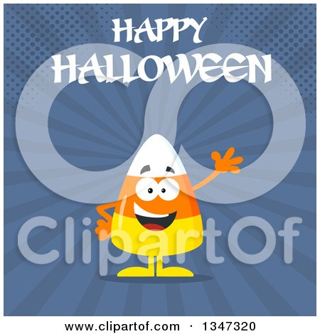 Clipart of a Cartoon Halloween Candy Corn Character Waving Under Text, over Blue Rays and Halftone Dots - Royalty Free Vector Illustration by Hit Toon