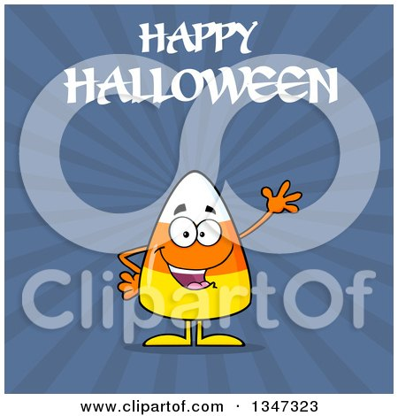 Clipart of a Cartoon Halloween Candy Corn Character Waving Under Text, over Blue Rays - Royalty Free Vector Illustration by Hit Toon