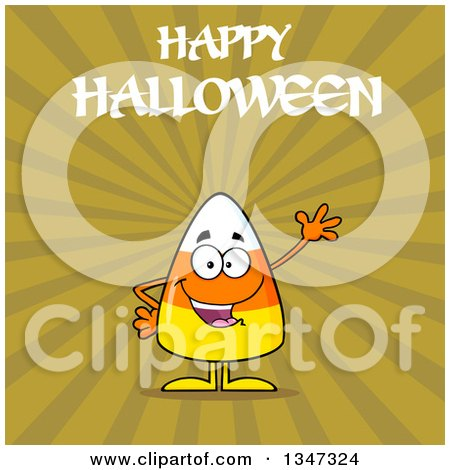 Clipart of a Cartoon Halloween Candy Corn Character Waving Under Text, over Green Rays - Royalty Free Vector Illustration by Hit Toon