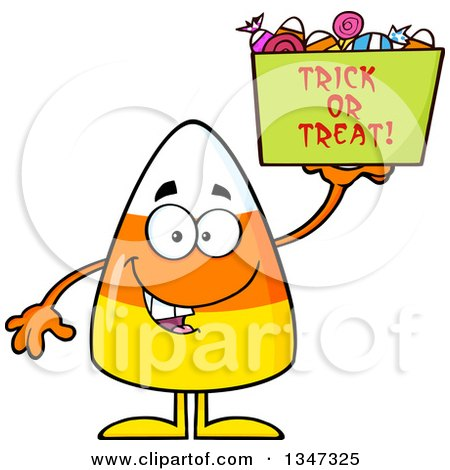 Clipart of a Cartoon Halloween Candy Corn Character Holding up a Trick or Treat Basket - Royalty Free Vector Illustration by Hit Toon