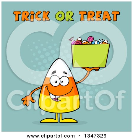 Clipart of a Cartoon Halloween Candy Corn Character Holding a Bucket Under Trick or Treat Text with Halftone Dots - Royalty Free Vector Illustration by Hit Toon
