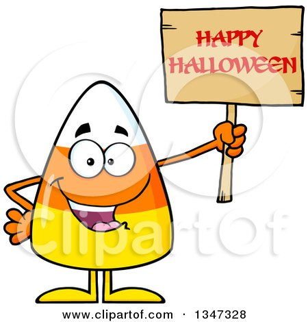 Clipart of a Cartoon Candy Corn Character Holding up a Happy Halloween Greeting Wooden Sign - Royalty Free Vector Illustration by Hit Toon