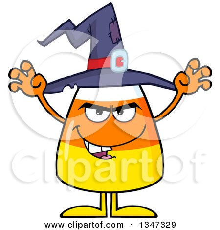 Clipart of a Cartoon Halloween Candy Corn Character Wearing a Witch Hat and Looking Scary - Royalty Free Vector Illustration by Hit Toon