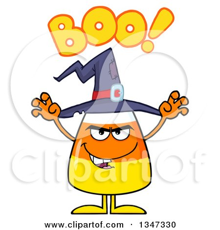 Clipart of a Cartoon Halloween Candy Corn Character Wearing a Witch Hat, Saying Boo and Looking Scary - Royalty Free Vector Illustration by Hit Toon