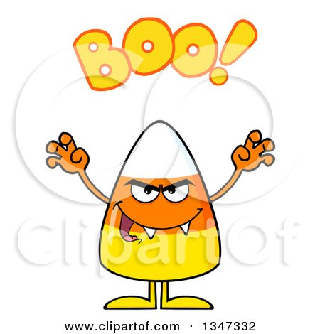 Clipart of a Cartoon Halloween Candy Corn Character with Vampire Fangs, Being Scary and Saying Boo - Royalty Free Vector Illustration by Hit Toon