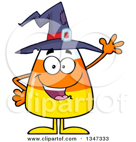 Clipart of a Cartoon Halloween Candy Corn Character Wearing a Witch Hat and Waving - Royalty Free Vector Illustration by Hit Toon