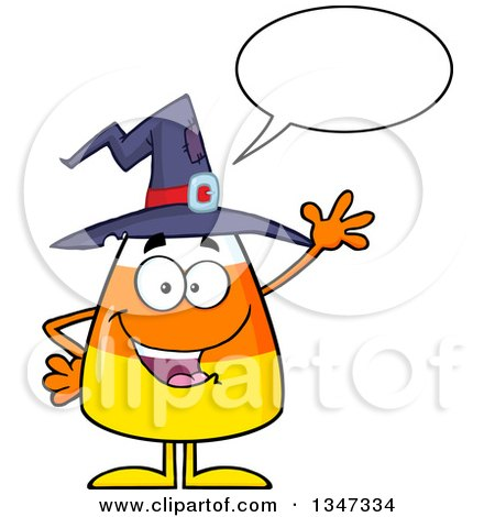 Clipart of a Cartoon Halloween Candy Corn Character Wearing a Witch Hat, Talking and Waving - Royalty Free Vector Illustration by Hit Toon