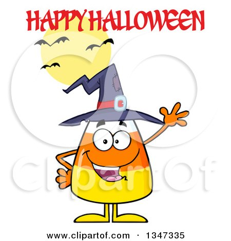 Clipart of a Cartoon Candy Corn Character Wearing a Witch Hat and Waving Under a Happy Halloween Greeting, Bats, and a Full Moon - Royalty Free Vector Illustration by Hit Toon