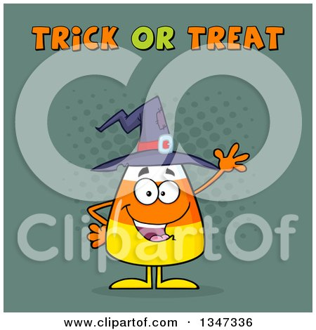 Clipart of a Cartoon Halloween Candy Corn Character Waving Under Trick or Treat Text with Halftone Dots - Royalty Free Vector Illustration by Hit Toon