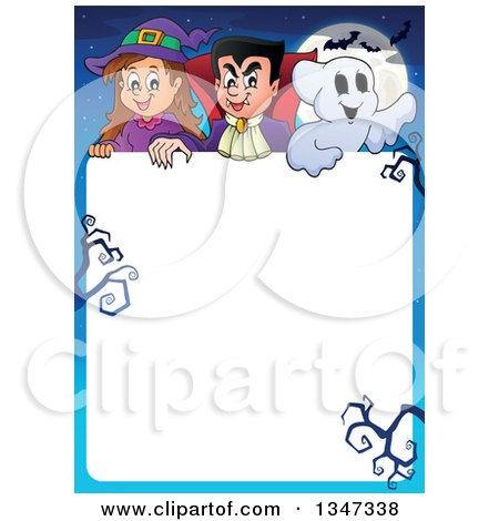 Clipart of a Cartoon Halloween Witch Girl, Vampire Dracula and Ghost over White Text Space with Bare Branches, a Full Moon and Bats - Royalty Free Vector Illustration by visekart