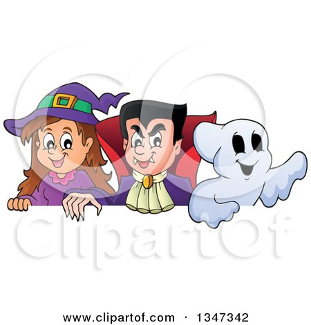 Clipart of a Cartoon Halloween Witch Girl, Vampire Dracula and Ghost over a Sign - Royalty Free Vector Illustration by visekart