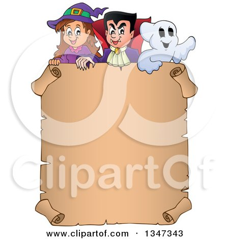 Clipart Of A Cartoon Halloween Witch Girl Vampire Dracula And Ghost Over A Blank Parchment Scroll Sign Royalty Free Vector Illustration