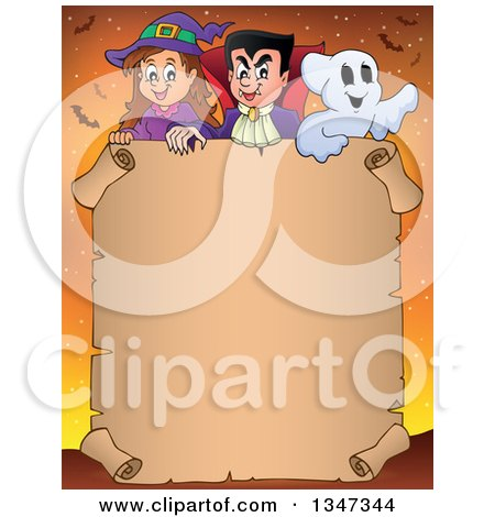 Clipart of a Cartoon Halloween Witch Girl, Vampire Dracula and Ghost over a Blank Parchment Scroll Sign, on Orange with Bats - Royalty Free Vector Illustration by visekart