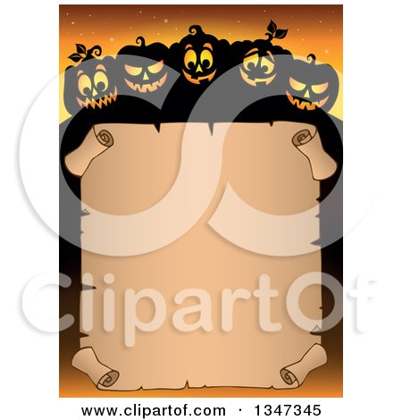 Clipart of a Cartoon Illuminated and Silhouetted Halloween Jackolantern Pumpkins over a Blank Parchment Scroll Sign, on Orange - Royalty Free Vector Illustration by visekart