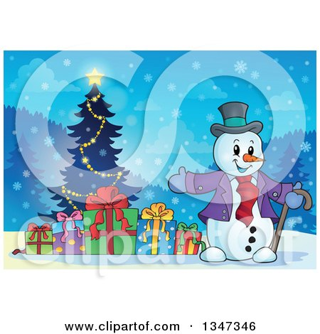 Clipart of a Cartoon Christmas Snowman Presenting Gifts and a Tree at Night - Royalty Free Vector Illustration by visekart