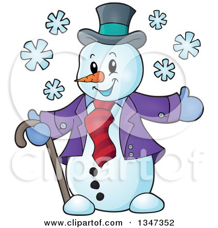 Clipart of a Cartoon Christmas Snowman Welcoming - Royalty Free Vector Illustration by visekart