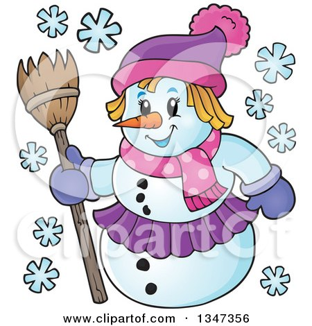 Clipart of a Cartoon Christmas Snow Woman Holding a Broom - Royalty Free Vector Illustration by visekart
