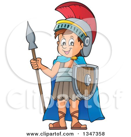 Clipart Of A Cartoon Happy Roman Soldier Holding A Spear And Shield Royalty Free Vector Illustration