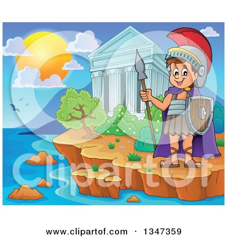 Clipart of a Cartoon Happy Roman Soldier Holding a Spear and Shield by the Acropolis of Athens on the Coast - Royalty Free Vector Illustration by visekart