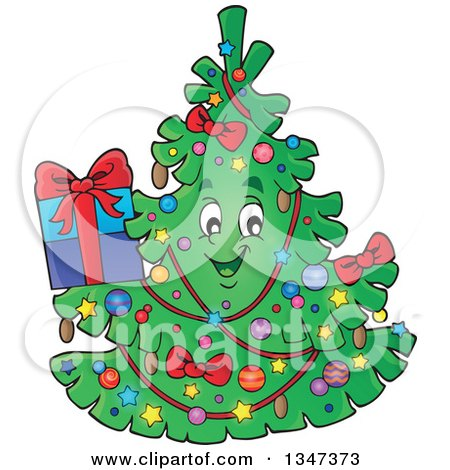 Clipart of a Cartoon Christmas Tree Character Holding a Present - Royalty Free Vector Illustration by visekart