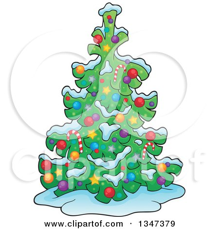 Clipart of a Cartoon Christmas Tree in the Snow - Royalty Free Vector Illustration by visekart