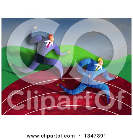 Clipart of Caucasian Business Men Racing on a Track - Royalty Free Illustration by Prawny
