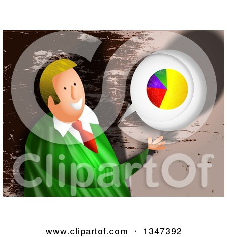 Clipart of a Textured Blond Caucasian Business Man Discussing Statistics over Brown Grunge - Royalty Free Illustration by Prawny
