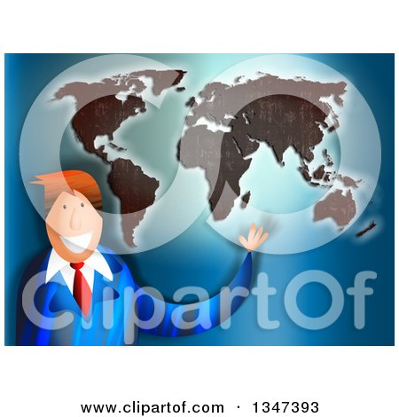 Clipart of a textured old map of newspapers royalty free preview clipart textured red haired caucasian business man presenting a world map gumiabroncs Images