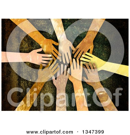 Clipart of Textured Hands Piled In, over Grunge - Royalty Free Illustration by Prawny
