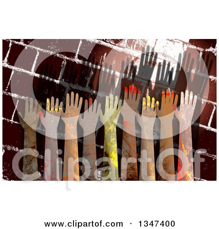 Clipart of Textured Hands Raised over a Grungy Brick Wall - Royalty Free Illustration by Prawny