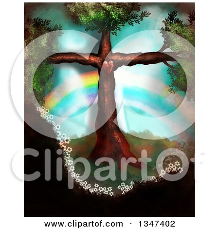 Clipart of a Tree in the Shape of a Christian Cross, with a Heart and Rainbow - Royalty Free Illustration by Prawny