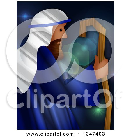 Clipart of a Textured Jesus As the Good Shepherd over Flares - Royalty Free Illustration by Prawny