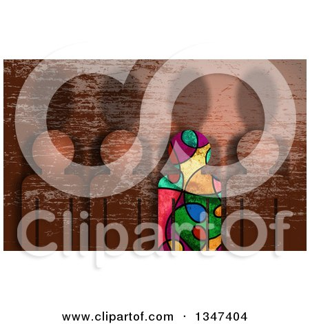Clipart of a Colorful Unique Different Person Standing out from a Line of Grunge Textured People - Royalty Free Illustration by Prawny