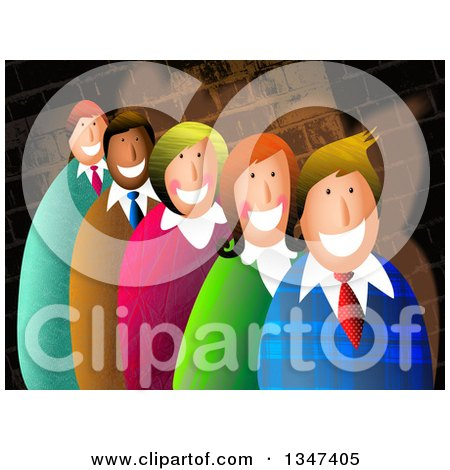 Clipart of Textured Business Men and Women Smiling over a Brick Wall - Royalty Free Illustration by Prawny