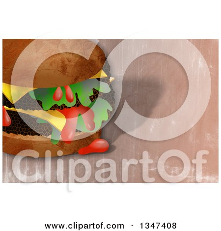 Clipart of a Textured Double Cheeseburger Dripping Ketchup over Grunge - Royalty Free Illustration by Prawny