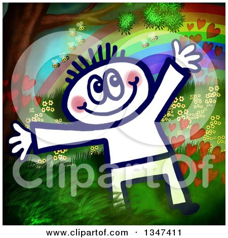 Clipart of a Happy Sketched Person over a Painting of a Tree, Bees, Hearts, Rainbow and Flowers - Royalty Free Illustration by Prawny