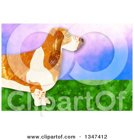Clipart of a Textured Basset Hound Dog over Sky and Grass - Royalty Free Illustration by Prawny