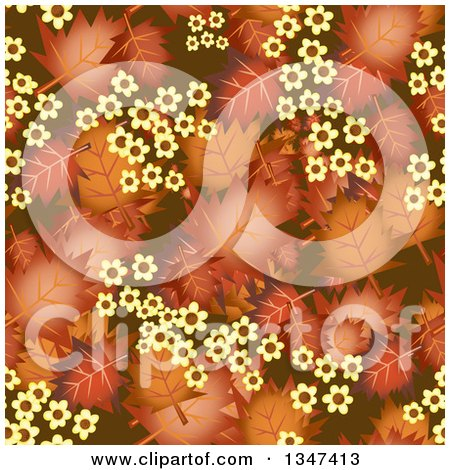 Clipart of a Seamless Background of Autumn Leaves and Yellow Flowers - Royalty Free Illustration by Prawny